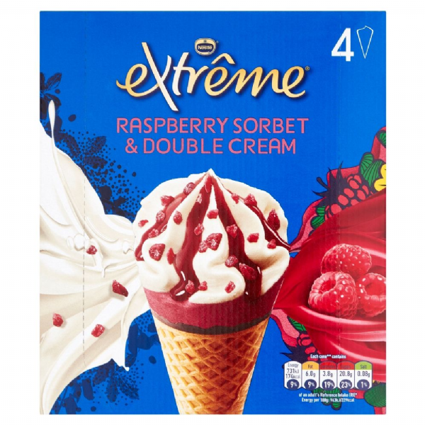 Nestle Extreme Raspberry & Double Cream Cones 4pk